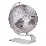 Ligne Art-Line : Globe en anglais Silver 30 cm :  Non lumineux sans mridien