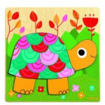 Puzzle 6 pices en bois : Tortue colore