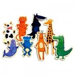 Puzzle 8 x 3 pices  en bois - Crazy animaux