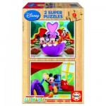 Puzzle 2 x 9 pices en bois - Le club de Mickey