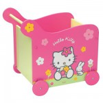 Coffre  jouets  roulettes en bois Hello Kitty