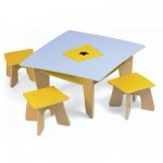 Table d'activit et 3 tabourets : Table en carr