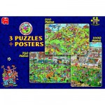 Puzzle 2250 pièces - 3 puzzles de football : Jan Van Haasteren : Football !