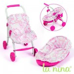 Mini Poussette et couffin pour poupe Anita 22 cm Fleurs roses
