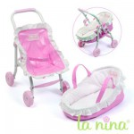 Mini Poussette et couffin pour poupe Anita 22 cm Pois roses