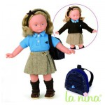 Poupe Lucia Uniforme et cartable : 30 cm
