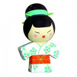 Poupe Kokeshi en bois : Porte bonheur Kiyoshi