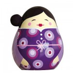 Poupe Kokeshi en bois : Porte bonheur Michiko