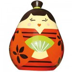 Poupe Kokeshi en bois : Porte bonheur Satomi