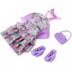 Vtements pour poupe Barbie Fashionistas : Robe  fleurs violette