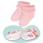 Vtement pour Bb Nenuco 42 cm : Chaussures blanches  fleurs et chaussettes roses