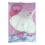Vtement pour Bb Nenuco 42 cm : Robe blanche et sac nounours rose