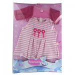 Vtement pour Bb Nenuco 42 cm : Robe raye et gilet rose