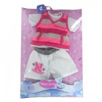 Vtement pour Bb Nenuco 42 cm : Tshirt ray rose et gris et short blanc
