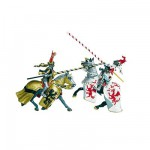 Figurine Cheval robe dragons blanc et rouge (sans chevalier)
