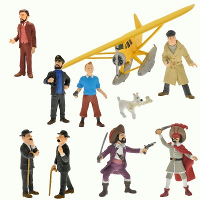 Figurine Tintin : Coffret collector 9 figurines et Hydravion