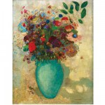Puzzle d'art en bois 150 pices Michle Wilson - Redon : Fleurs dans un vase turquoise