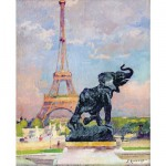 Puzzle d'art en bois 80 pices Michle Wilson - Renoux : La Tour Eiffel et l'lphant