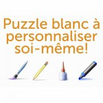 Puzzle en bois Art maxi 24 pices : Puzzle blanc  personnaliser