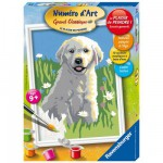 Peinture au numro Junior : Jeune Golden Retriever
