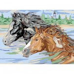 Peinture au numro Premium : Chevaux sauvages Version allemande
