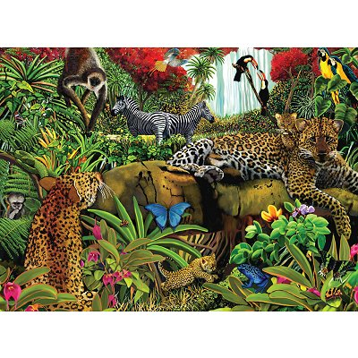 Puzzle 100 pices - Les animaux de la jungle