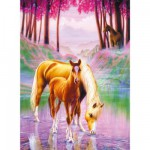 Puzzle 200 pices XXL : Chevaux dans la brume