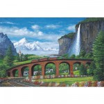 Puzzle 1000 pices - Le train sur le pont de la montagne