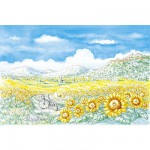 Puzzle 1000 pices - Shinya Uchida : Paysage de montagne avec tournesols